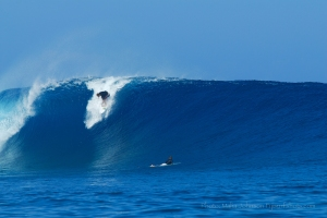 I just love this late drop going backside at Cloudbreak. Photo by Malia Johnson