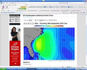 Screenshot taken Tuesday morning for Thursday morning moving swell chart. (9/30/10)