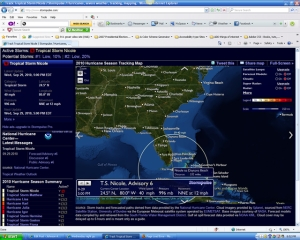 Tropical Storm Nicole screenshot, at 9 PM, located 333 miles from Daytona, Stormpulse.com