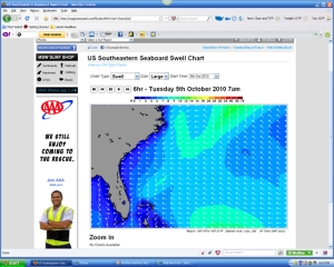 The swell direction arrows still show from the east for 7 AM Tuesday morning, but you can see the size increasing.