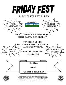 Friday Fest - Cape Canaveral, Oct. 1st flyer