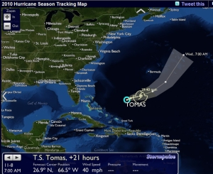 Showing T.S. Tomas (stormpulse.com) , Monday morn at 7 Am (11/7/10), w 40 mph winds, 1000 miles from Daytona