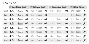 Full swell breakdown chart, compliments of magicseaweed.com, for Thursday, 12/2/2010