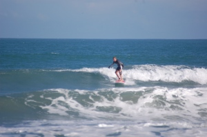Larger Outside sets were waist high, fun thigh high wave for this 2nd week of Dec. 2010 surf session at Hangers.