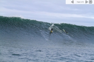 From magicseaweed.com,  a huge Oregon swell w up to 25' to 35' face heights, early Jan. this year, Justin Howard setting up to backdoor the peak.  Some did tow in, and a couple others waited for the glass, and paddled into these waves.