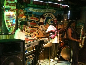 "Dudley at the keyboards, with ""Dub Kulcha"", sorry I don't know the other's names. Friday night at the Sandbar & Grille, Cocoa Beach."
