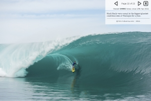 Teahupoo finally had a huge day after a year has passed.  Magicseaweed.com has this awesome gallery of some locals, and some big wave names that caught this swell in the last few days.  Mark Healey on this bomb.