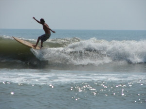 Chad coming off a nice glassy lip in South Cocoa Beach.  May 14, 2011, a nice Saturday morning session with his son Chase.