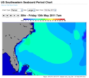 Friday's 7 Am swell period chart.  Compliments of magicseaweed.com