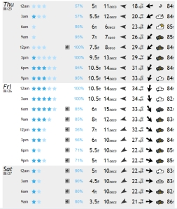 The model for 6 AM Friday morning looks to be a glitch, and my guess is it will be around 8.5 feet at 13 or 14 seconds, but we'll see.  The storm picked up some speed and now will share it size while its dark.  Compliments of magicseaweed.com