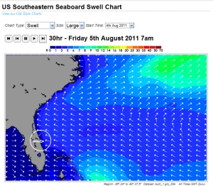 Friday morning 7 AM swell size model from magicseaweed.com and Noah.