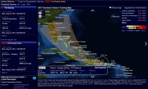 Hurricane Irene as of Monday at 2 Pm, 8-22-11, stormpulse.com provided