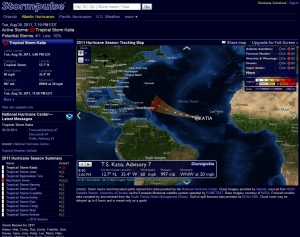Tropical Storm Katia, headed straight our way, 60 mph winds, 20 mph.  Possible hurricane by Wednesday some time.  Sunday could place it about 1500 miles WSW of us. Compliments of Stormpulse.com