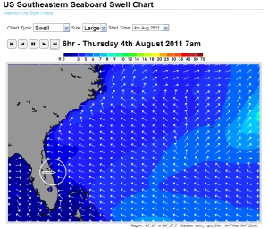 Thursday morning 7 AM swell size model from magicseaweed.com and Noah.
