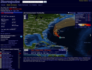 Tuesday as of 5 AM Katia, and its position Wednesday at 2 PM, Cat 3, then maybe Cat 4 today and back to 3 or 2.