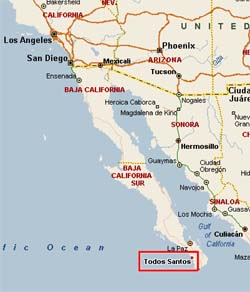 A glimpse of Todos Santos , Mexico's coastline map, and the long road the surfers had to get there.