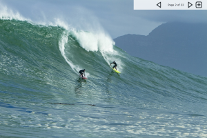 Dungeons - n - Sunset, South Africa, on a 15 foot swell (but a wave of the day here, maybe 18), March 1 2012. From Magicseaweed.com  Jeremy Johnson and Matt Bromley on a bomb.