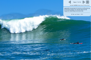 I thought this fact was amazing about swells; Apparently one percent of waves in a swell can be up to twice the average. On a big day these are the rouge sets which keep you on your toes.  From the same big day at Dungeons, South Africa.  This was a rogue wave. See the article link to Magicseaweed.com published March 8, 2012
