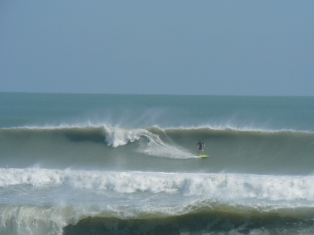 South Cocoa Beach, Hurricane Sandy, solid 12 foot face (3 feet above and below the surfer), photo by Mike Melito