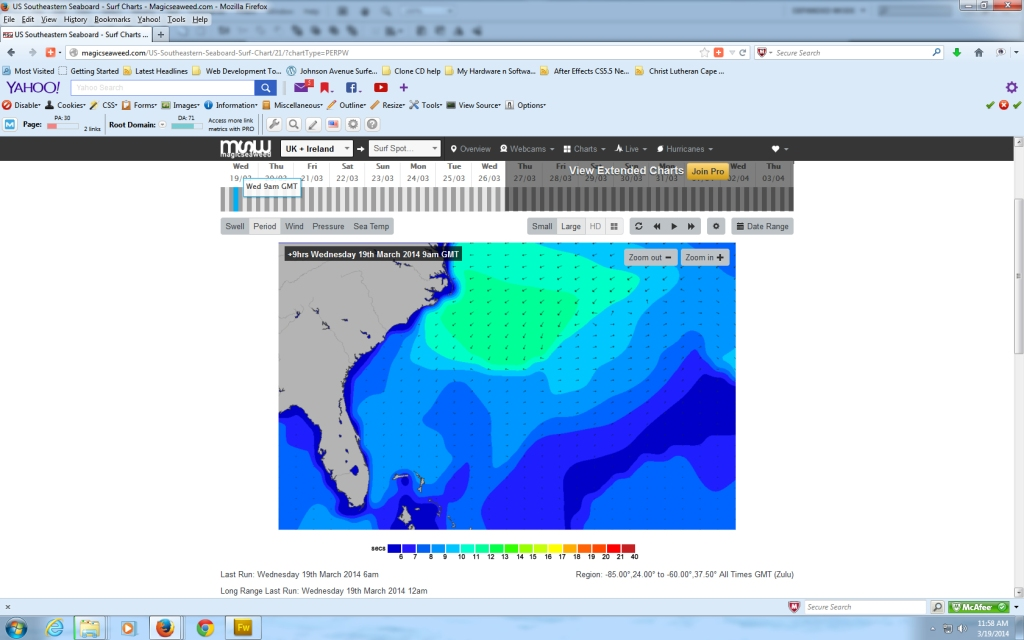 Here is the 9 AM Period chart respectively for March 19 (today morning): - Compliments of Magicseaweed.com