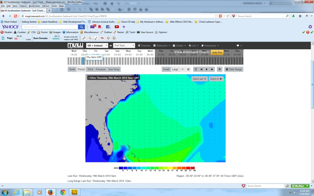 Here is the 9 AM Swell chart respectively for March 20 (Thursday morning): - Compliments of Magicseaweed.com