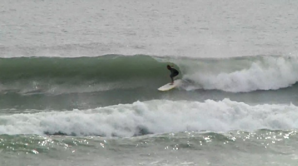 Chad exiting a quick barrel in Satellite Beach, April 22, 2014