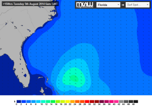 Moving swell chart frozen for Tuesday , August 5 2014 at 6 AM, thanks to Magicseaweed.com's nice model version.