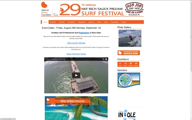 29th Annual NKF (National Kidney Foundation) Rich Salick Pro/Am Surf Festival at Cocoa Beach Pier and other locations