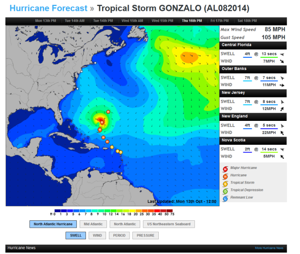 Tropical-then-Hurricane-Gonzalo-Columbus-Day-morn-1030-AM-10-13-14, Image, compliments of Magicseaweed.com