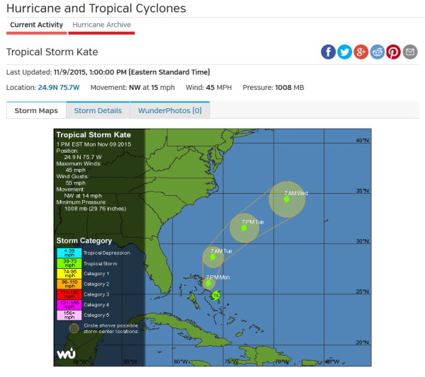 Tropical-Storm-Kate-at-1pm-11-09-15-Wunderground-tracking-for-Tuesday-swell-compliments of Wunderground.com